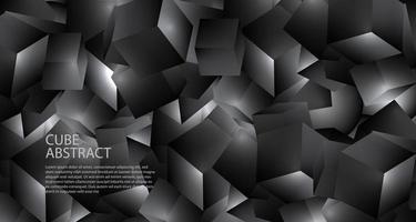 Fondo metallico della struttura cubica nera geometrica poligonale 3D vettore
