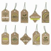 Set di etichette in cartone organico bio naturale vettore
