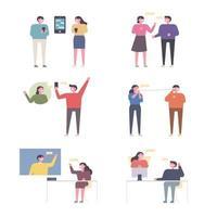 Insieme di persone che comunicano in vari modi vettore