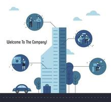 Benvenuti al modello di presentazione del grattacielo aziendale vettore