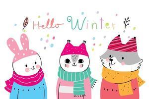 Cartoon simpatici animali inverno, coniglio e gatto e volpe vettoriale.