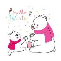 Vettore bevente del caffè di inverno, del gatto e dell'orso polare svegli del fumetto.