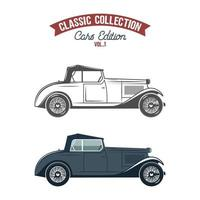 Icone di auto retrò, simboli in colore piatto e stile monocromatico vettore
