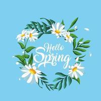 ciao ghirlanda di primavera vettore