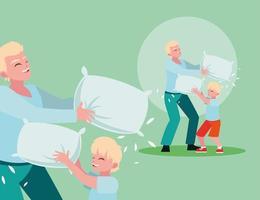 padre e figlio lotta con i cuscini
