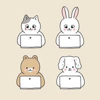 Animali che utilizzano il set di laptop vettore