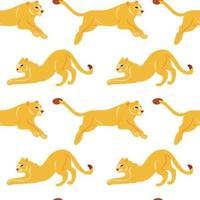 Modello senza cuciture piatto disegnato a mano di vettore con i leoni