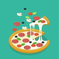 Progettazione di pizza isometrica vettore