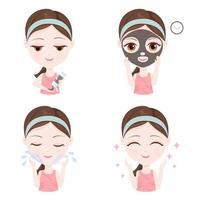Ragazza che mostra come utilizzare una maschera di argilla sul viso vettore
