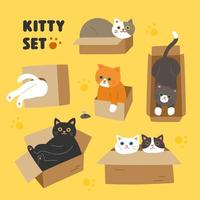 Set di gatti svegli nelle mani di stile dell'immagine che giocano nella scatola.