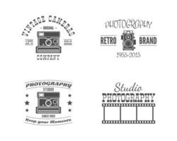 Disegni di fotografia vintage con eleganti vecchie macchine fotografiche ed elementi vettore
