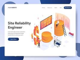 Ingegnere Isometric Illustration Concept dell'affidabilità del sito vettore