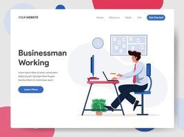 Concetto dell'illustrazione di Working on Desk dell'uomo d'affari