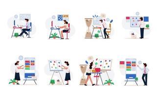 Insieme dell'illustrazione della donna di affari e dell'uomo d'affari