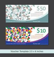 Modelli di buoni regalo geometrici colorati vettore