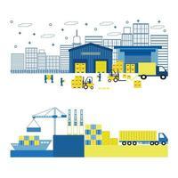 Illustrazione di stile piano di carico, porto, spedizione attrezzature