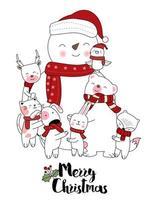Cartolina disegnata a mano di simpatici animali pupazzo di neve di buon Natale