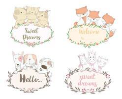 Set di cuccioli di animali con saluti in bordi floreali vettore