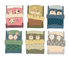 Animali svegli del bambino in insieme disegnato a mano della camera da letto