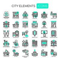 Set di icone di elementi di città verde linea sottile monocromatica