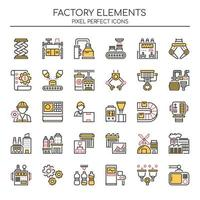 Set di icone di fabbrica di linea sottile di due tonalità vettore