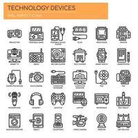 Collezione di icone di dispositivi tecnologia linea sottile vettore