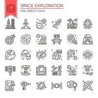 Set di icone di linea sottile e pixel perfetti per l'esplorazione dello spazio per qualsiasi progetto web e app.