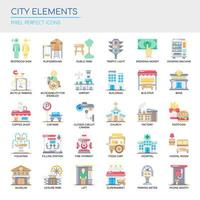 Set di icone e elementi di città di colore vettore