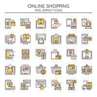Set di icone dello shopping online di linea sottile di due tonalità vettore