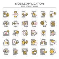 Set di icone di applicazioni mobili linea sottile di due tonalità vettore