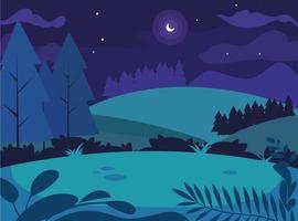 paesaggio notturno con scena di alberi di pino vettore