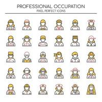 Set di icone femminili di occupazione di linea sottile di due tonalità