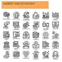 Set di icone di mercato ed economia di linea sottile in bianco e nero