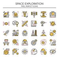Set di icone di esplorazione dello spazio di colore di due tonalità vettore