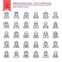 Set di icone di occupazione professionale di linea sottile in bianco e nero
