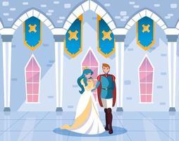 principessa e principe nella fiaba del castello vettore