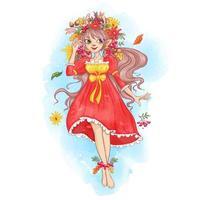 Fata in una corona di foglie d'autunno