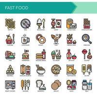 Set di icone di Fast Food di linea sottile di colore