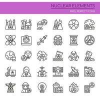Insieme di elementi nucleari di linea sottile in bianco e nero