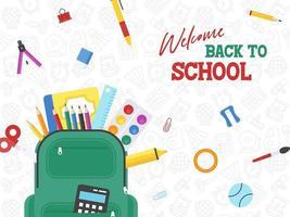 Borsa di scuola con materiale scolastico con motivo di sfondo di materiale scolastico