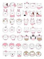 Stile disegnato a mano degli animali svegli del bambino, per stampa, carta, maglietta, insegna, prodotto Illustrazione di vettore