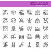 Set di icone di felice anno nuovo linea sottile bianco e nero