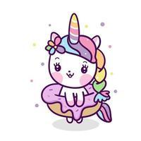 Cartone animato ciambella Unicorno Kawaii vettore