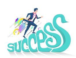 Uomo di affari che corre in su la parola successo vettore