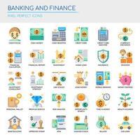 Insieme delle icone di finanza e attività bancarie di colore piatto vettore