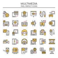 Set di icone multimediali linea sottile di due tonalità
