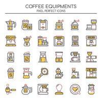 Set di icone di attrezzatura caffè linea sottile due tonalità