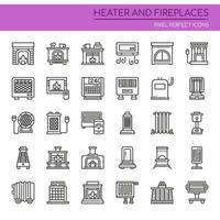 Set di icone di riscaldamento e caminetti linea sottile in bianco e nero vettore