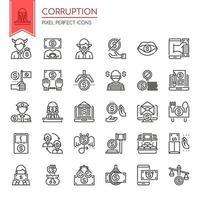 Set di icone di corruzione di linea sottile in bianco e nero