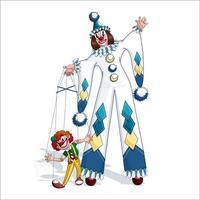Il pagliaccio Pierrot conduce un personaggio dei cartoni animati fantoccio